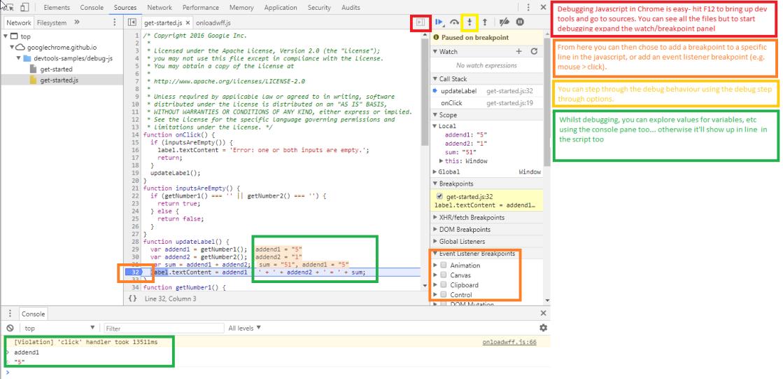Google JavaScript Debug Example
